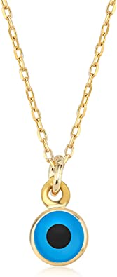 14K Gold Lucky Evil Eye with Blue Eyes Choker with Three Balls Dainty Charm Pendant Necklace For Women Best Birthday Gift