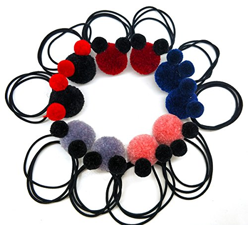 MeliMe Baby Girl PomPom Hair Elastics Pompom Hair Bobbles, Pom-pom Hair Ties for Teens Girls Babies Toddlers (10pieces/5Colors) (Little bear/5 Colors)