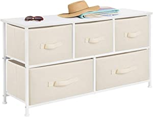 mDesign Extra Wide Dresser Storage Tower - Sturdy Steel Frame, Wood Top, Easy Pull Fabric Bins - Organizer Unit for Bedroom, Hallway, Entryway, Closets - Textured Print - 5 Drawers - Cream/White