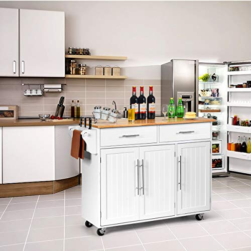Giantex Kitchen Island Cart Rolling Storage Trolley Cart with Lockable Castors, 2 Drawers, 3 Door Cabinet, Towel Handle, Knife Block for Dining Room Restaurant Use White