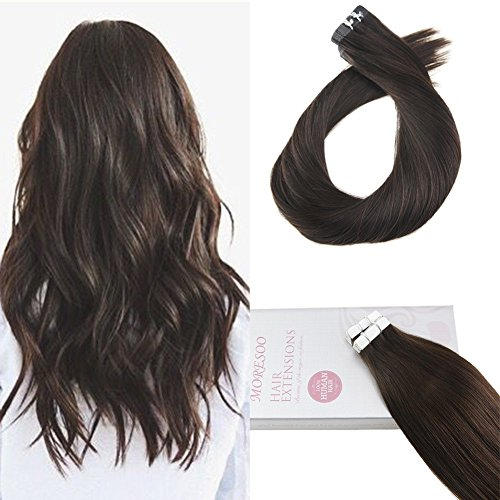(Moresoo 18 Inch Remy Human Hair Glue in Extensions Darkest Brown Color #2 Seamless Skin Weft Tape Hair 20pcs/50g Unprocessed Invisible Tape in Human Hair Extensions)