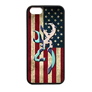 Canting_Good Browning Cutter Logo Vintage American Flag Custom Case Shell Skin for iPhone 5 5S TPU (Laser Technology)