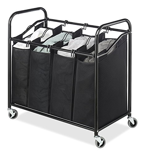 "Laundry Sorter Cart 4-Section Hamper - Heavy Duty, Durable Metal Frame & Handles – Large Hanging Bags with Plastic Grips, Laundry Room Organizer with Lockable Caster Wheels - by Whitmor – 20 x36 x33"" (Large Sorter Laundry)"