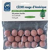 Mondex CED17817-00 Lot de 18 Billes Antimites Cèdre Rouge 20 x 14 x 2 cm