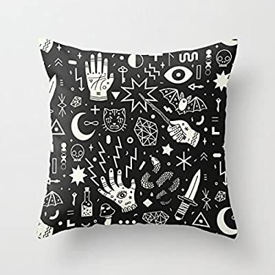 "Decorative Pillow Case Witchcraft Black and White Cushion Cover 18"" x 18"""