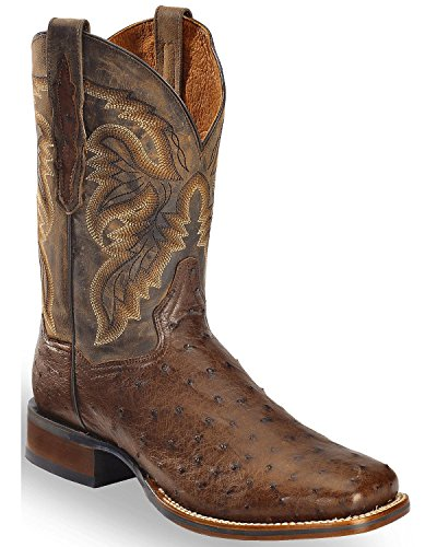 Dan Post Men's Alamosa Full Quill Ostrich Western Boot Square Toe Chocolate 13 D(M) US