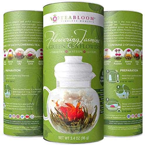 Teabloom Jasmine Flowering Tea - Hand Tied Green Tea Leaves + Jasmine Blossoms Flowering Tea Creations - Blooming Tea Gift Set - 12-Pack, 36 Steeps, Makes 250 - Glass Sunset Over