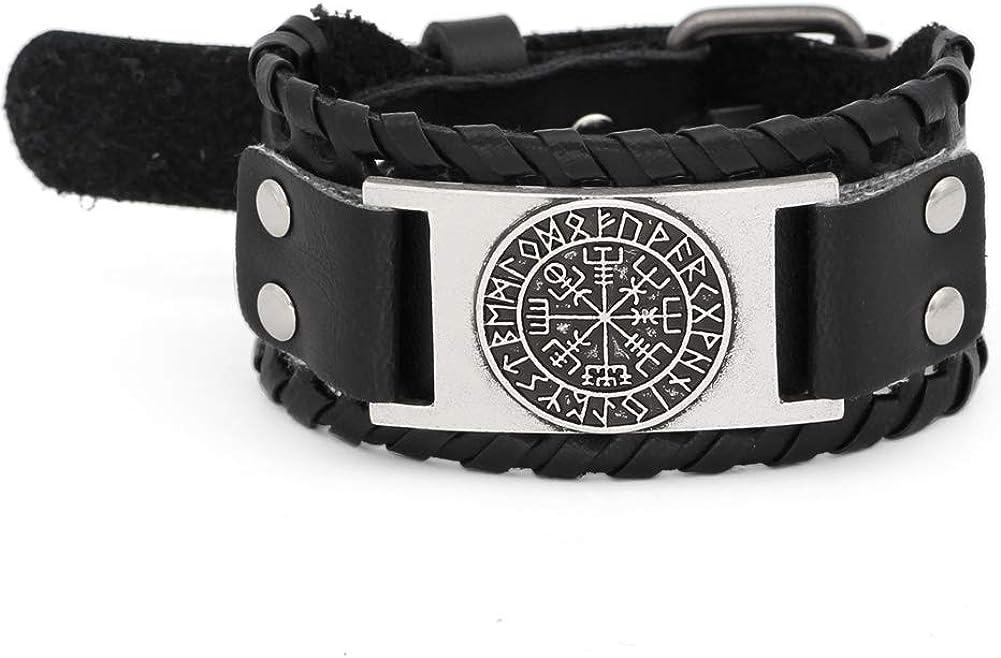 HLARK Viking Vegvisir Campass Wide Cuff Leather Bracelet for Men Women Vintage Nordic Runes Amulet Jewellery