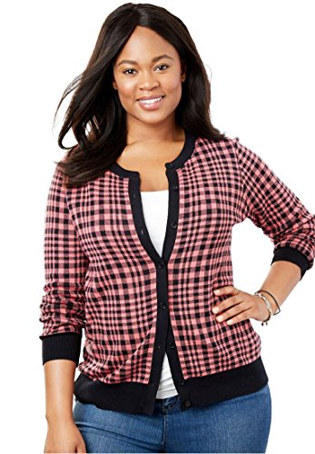 Woman Within Plus Size Perfect Long Sleeve Cardigan - Tea Rose Gingham Plaid, 4X - Cardigan Ribbed Print