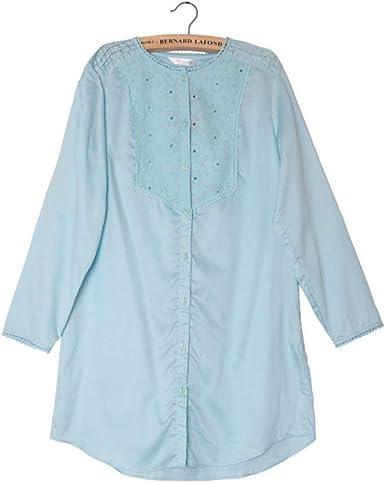 Pijama Camisón para Mujer Cómodo Casual De Algodón Ropa De Manga ...