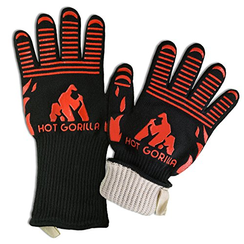 Hot Gorilla BBQ Grill Cooking Gloves - Extreme Heat Resistant 932°F EN407 Certified with Forearm Protection - Great for Barbecue Grilling, Oven Mitts, Pot Holders, Camping, Outdoor & (Charbroil Outdoor Fireplace)