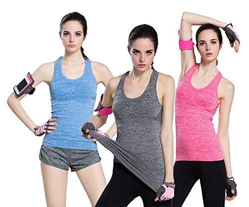 FITTIN Women's Sports Yoga Fitness Racerback Tank Top Padded Built in Bra Running Vest