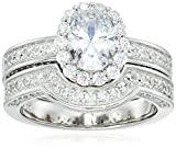 Platinum Plated Sterling Silver Cubic Zirconia Oval Halo Bridal Wedding Ring Set, Size 7