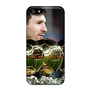 Protective Tpu Case With Fashion Design For Iphone 5/5s (the Player Of Barcelona Lionel Messi Is With His Trophies)