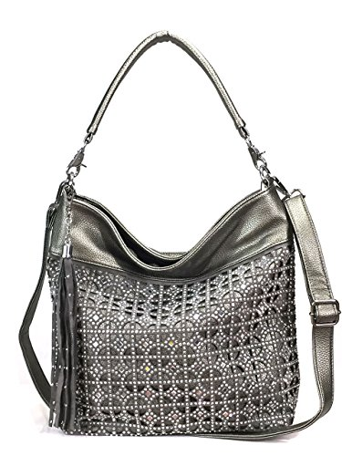 Zzfab Coin Circle Sparkle Hobo Bag with Tassel Pewter ()