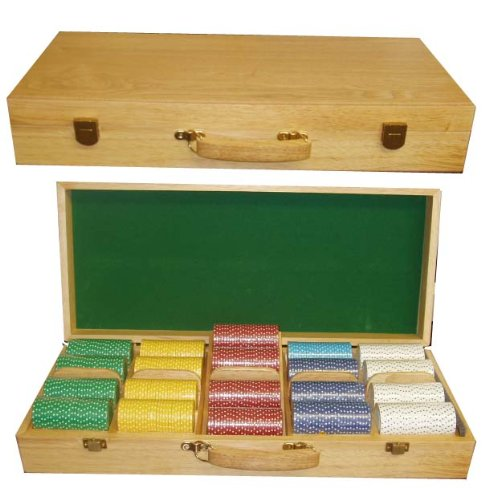 500 Oak Poker Chips Carrying CASE Casino Las Vegas Wooden Chip Trays 500 Chips by Spinettis
