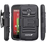 Moto G 1st Gen Holster Case, Fosmon STURDY [Locking Swivel Belt Clip | Kickstand] Rugged Heavy Duty Shock Proof Case for Motorola Moto G 1st Gen (Black/Black)