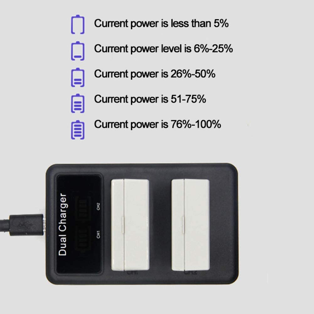 LP-E8 USB Dual Ports Travel LCD Display Quick Charging Camera Battery Charger for Sony Black
