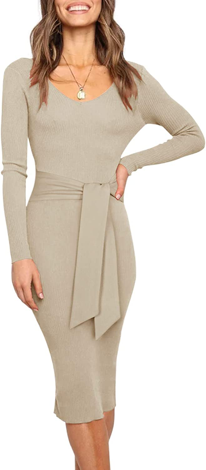 REORIA Women's Sexy V Neck Sweater Dress Fall Long Sleeve Backless Knitted Belt Tie Waist Ribbed Sweater Bodycon Maxi Dresses