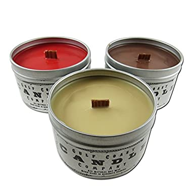 Scented Candles-Man Cave Collection-All Natural Soy Wax-SET of 3: Nag Champa, Dragons Blood, Asian Sandalwood~8 ounce Tin ~Wood Wick by Gulf Coast Candle Company