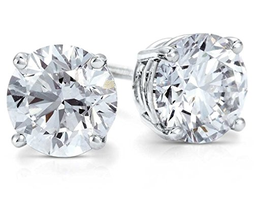 PARIKHS Round Diamond stud Plus Quality in 14K White Gold (0.25 (0.125 Ct Round Diamond)