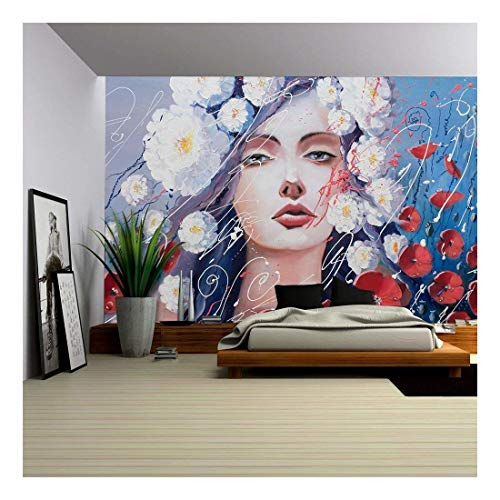 wall26 - Venus' Tears Original Oil Painting, a Fantasy Portrait of a Woman Resembling Venus in Greif - Removable Wall Mural   Self-Adhesive Large Wallpaper - 66x96 inches