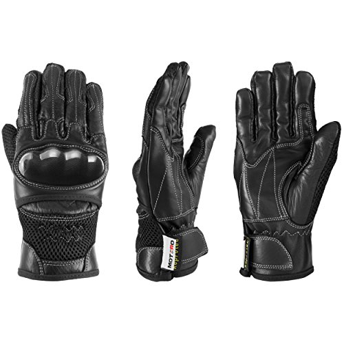 MOTERO Man Leather Motorcycle Gloves (Summer) – Full Finger, Vented, Adjustable – Carbon Kevlar Knuckle Protectors – Motorbike Accessories (Medium, black)