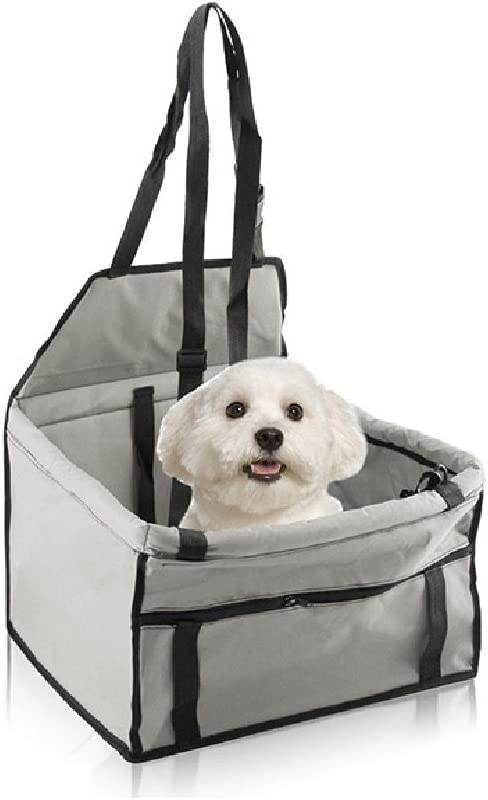 MAKPON - Funda para asiento de coche para perro, gato, perro o perro, impermeable, para mascota, asiento elevador de coche, para perros pequeños, cachorro, portátil, bolsa de transporte para coche, color gris: