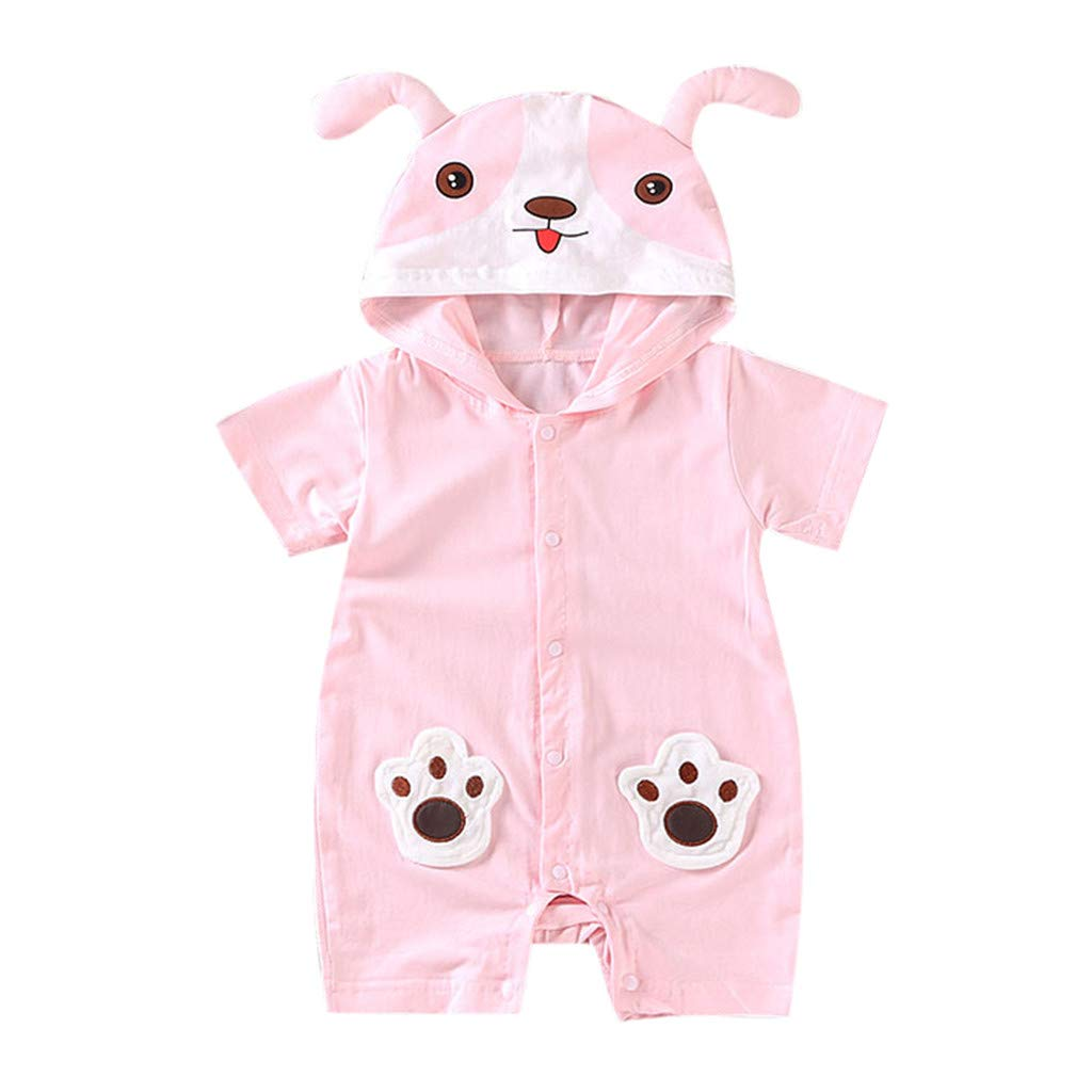 NUWFOR Newborn Baby Boy Girls Cartoon Hoodie Infant Rompers Jumpsuit Outfits Clothes(Pink,0-6 Months