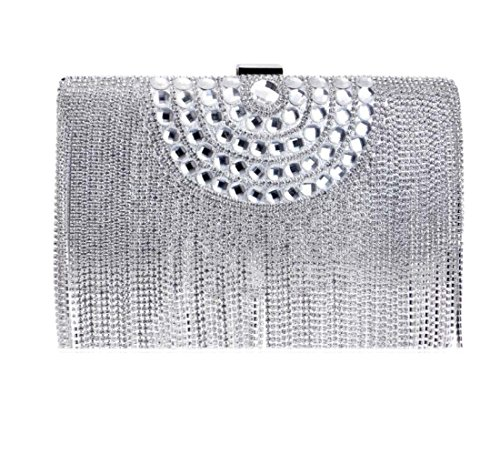 For Tassel Gift Women Wedding Purse Ladies Silver Envelope Glitter Evening Clubs Sequin Clutch Handbag Shoulder Party Bridal Bag Diamante Bag Prom ppqSH7