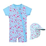 HUAANIUE Baby Girls Swimsuit Rashguard Swimwear One Piece Light Blue Flamingo 2-3 T