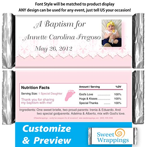 - Personalized Hershey's Candy Bar Wrappers | Baby Baptism, Christening | Baby Lace Pink | Include Your Photo | (36 Wrapper Kit)
