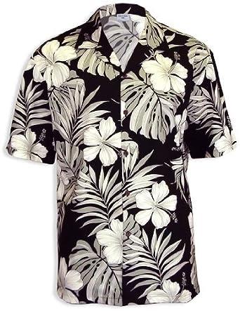 Big Hibiscus White Flower Men Hawaiian Shirt at Amazon Men's ...