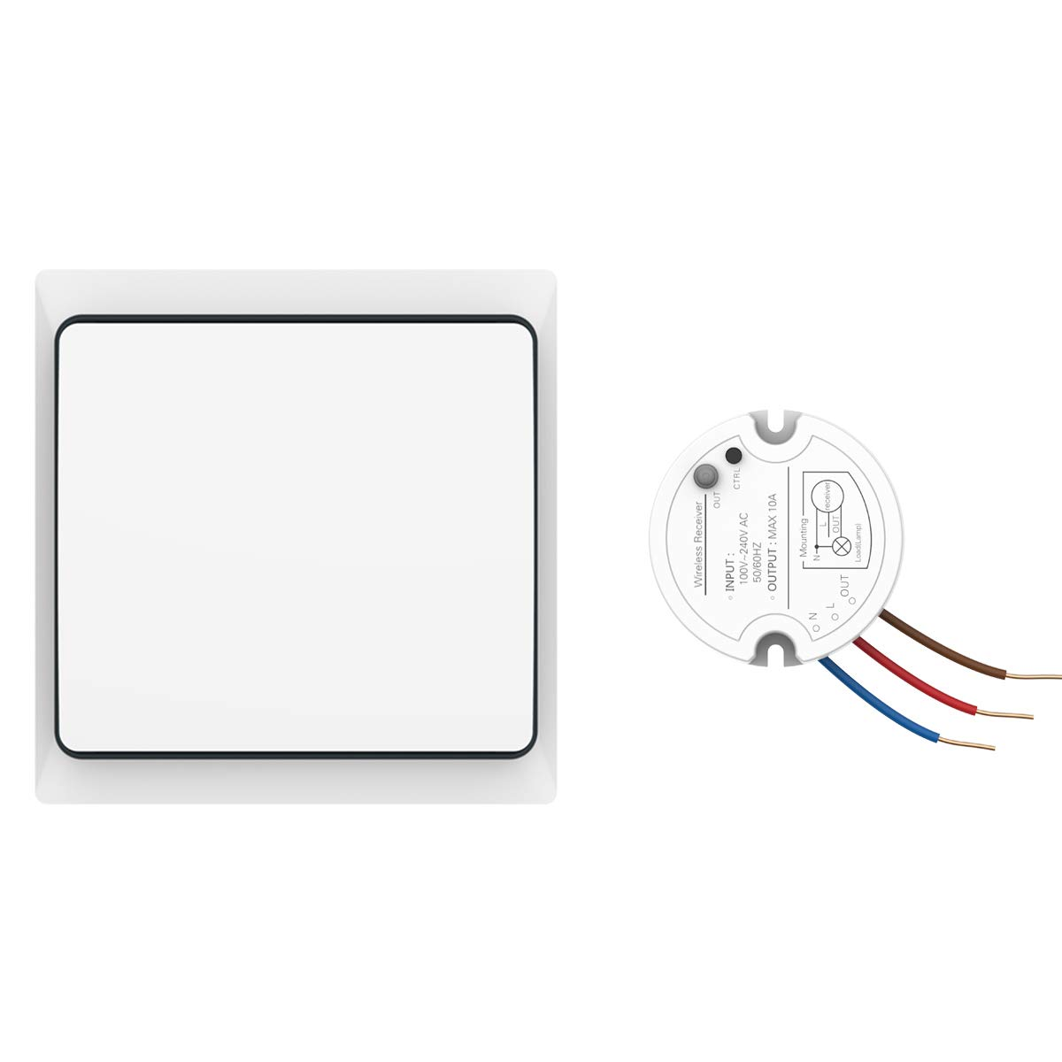 Crelander Self-powered Waterproof Wireless Light Switch Kit On//off Control Single Pole Wall Switch One Receiver Module Lvr900 WS200+LVR900
