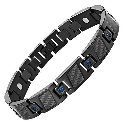 Carbon Fiber Magnetic Bracelet - Carbon Fiber Blue CZ Titanium Magnetic Bracelet Size Adjusting Tool and Gift Box Included By Willis Judd