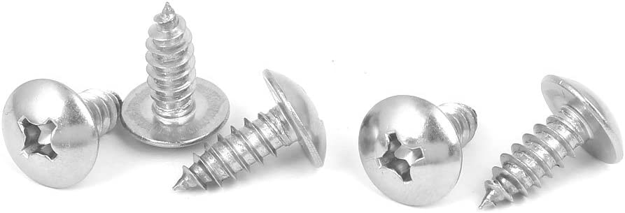 sourcingmap/® M6x16mm 316 Stainless Steel Truss Phillips Head Self Tapping Screws 5pcs