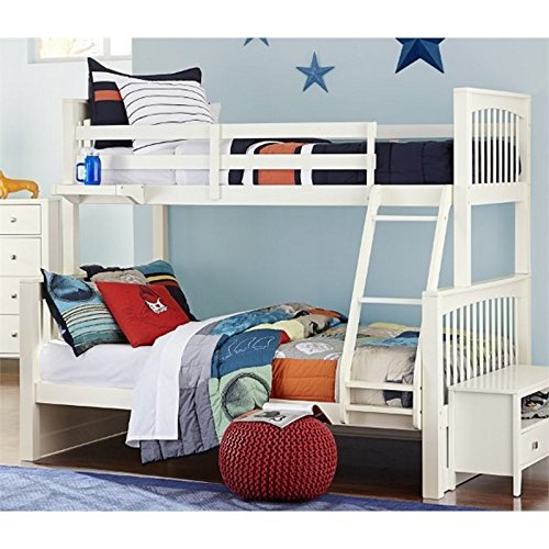 NE Kids Pulse Twin Over Full Slat Bunk Bed in White