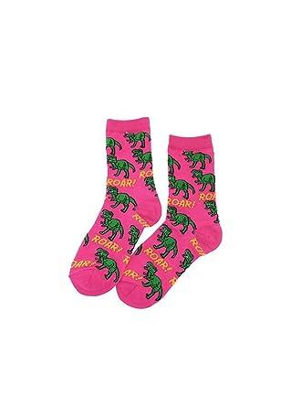 68b57d0f2 T-Rex Crew Socks Pink: Amazon.co.uk: Clothing