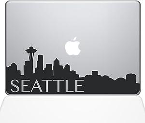 "The Decal Guru Seattle Skyline Decal Vinyl Sticker, 12"" MacBook, Black (2331-MAC-12M-BLA)"