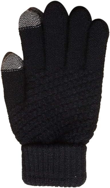 Men Winter Warm Windproof Gloves Free Size Elastic Half Finger Suede Nap Gloves