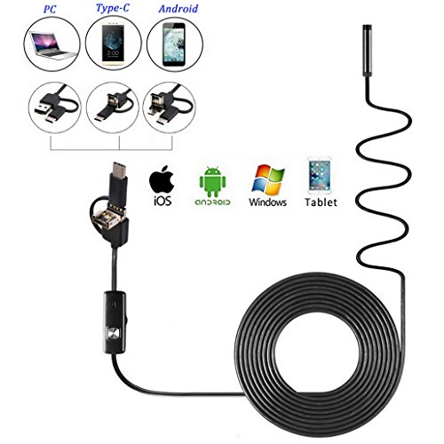 Waterproof IP67 67 Degree View Angle 3 IN 1 USB / Micro USB / Micro USB to Type-C USB Endoscope Borescope HD Video Inspection Camera with 6 Adjustable LED for Android Smartphone and PC (5M)