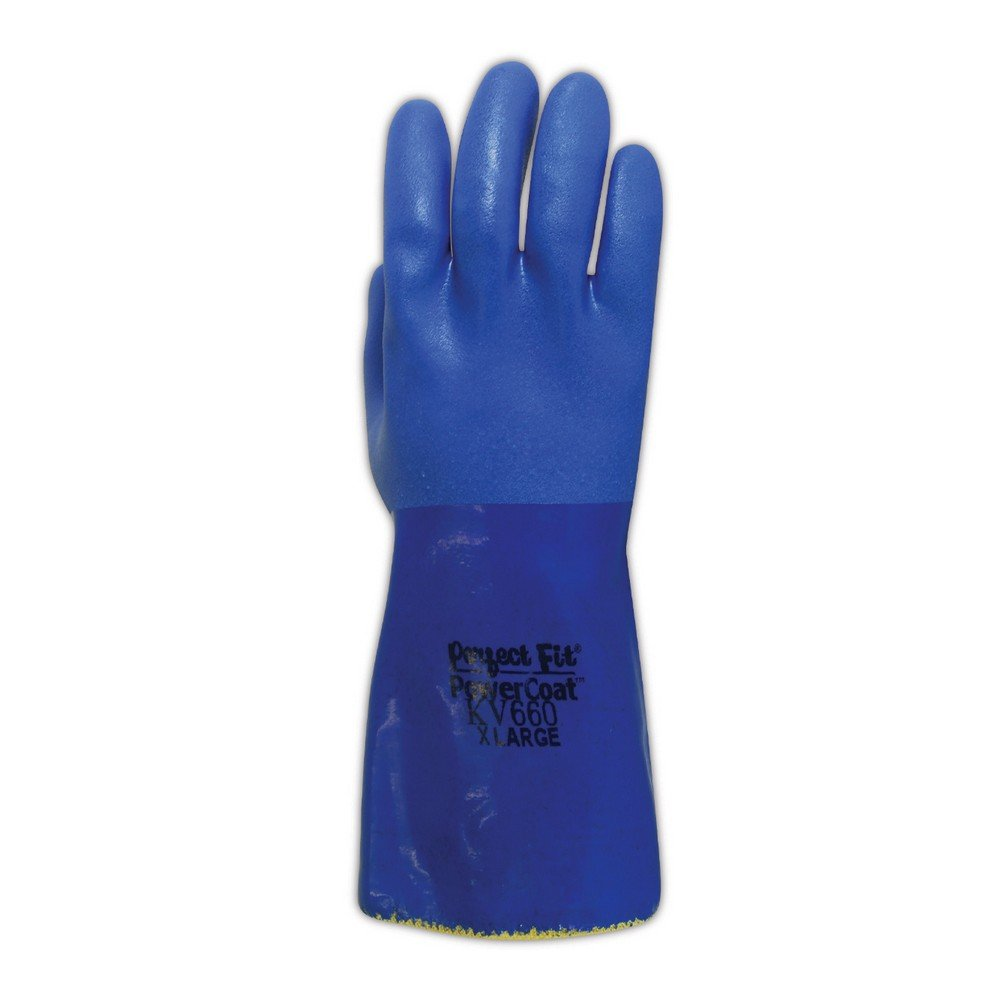 Sperian KV660-08 SHOWA Atlas KV660 Kevlar Knit Gloves with Full PVC Coating, Cut Level 3, Size 8, Blue (Pack of 12) by Sperian (Image #2)