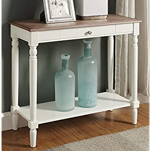Convenience Concepts 6042188DFTW French Country Hall Table with Drawer and Shelf, Driftwood / White