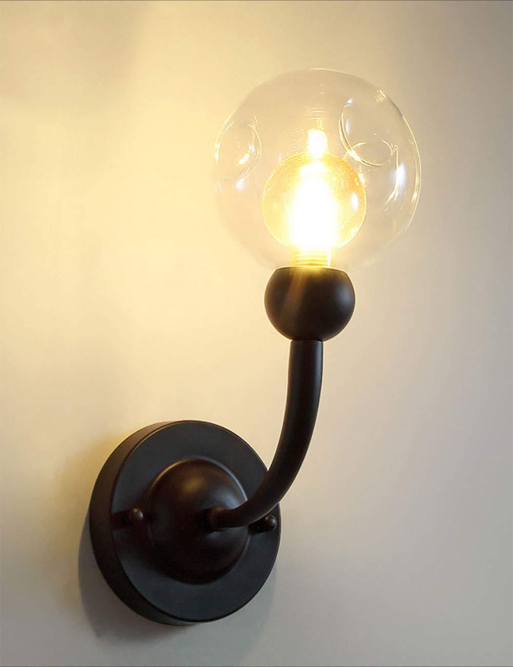 Irinay Retro Eisen Wandleuchte Industrie Glas Lampenschirm Wandleuchten E27 Led Beleuchtung Wohnzimmer Schlafzimmer Wandleuchte Einfache Schwarz (Farbe   Colour-Größe)