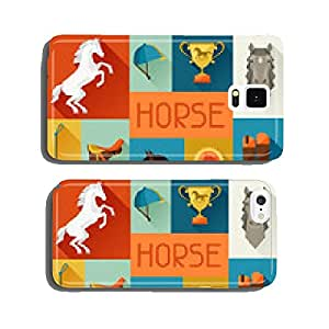 Background with horse equipment in flat style. cell phone cover case Samsung S6