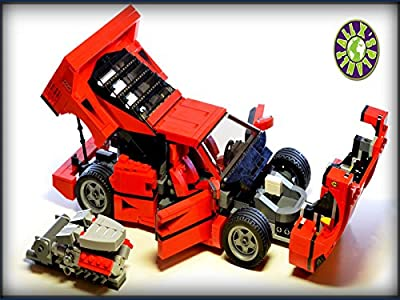 Lego Ferrari F40 with V8 engine stop motion review