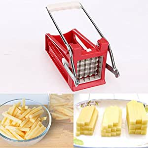 Stainless Potato Chipper Slicer French Fries Chip Cutter Chopper Tool 2 Blades