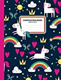 Composition Book: Unicorn Theme Wide Ruled Writing Notebook For School Assignments, Lists, Or Notes