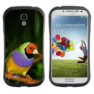 Fuerte Suave TPU GEL Caso Carcasa de Protección Funda para Samsung Galaxy S4 I9500 / Business Style parrot tropical bird purple green jungle