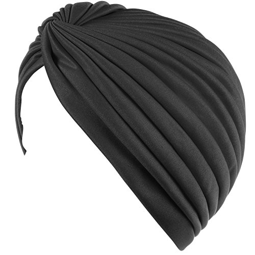 Twisted Pleated Stretchable Polyester Women's Swim Bathing Turban Head Cover / Sun Cap - - Womens Caps Bathing